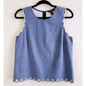 J. CREW Chambray Scalloped Tank Top With Grommets